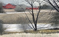 Red Barns, Painting, Watercolor on Watercolor Paper