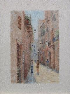 European city scene 2, Painting, Oil on Canvas