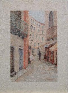 European city scene 6, Painting, Oil on Canvas