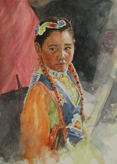 Orange Braids, Painting, Watercolor on Watercolor Paper