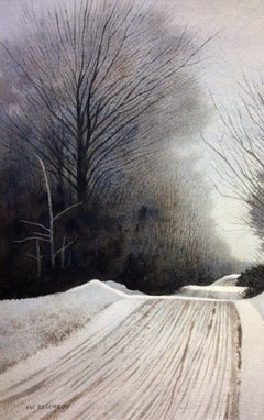 Winter Road, Painting, Watercolor on Watercolor Paper