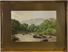 Willliam Eden - 1866 Watercolour, Landscape with Fly Fisherman