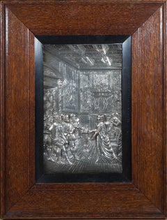 Framed Mid 20th Century Metalwork Relief - Court Scene