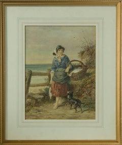 James Drummond RSA (1816-1877) - 1877 Watercolour, Girl with Fish Basket