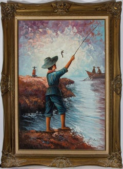 R. Saler - Large Contemporary Oil, Boy Fishing