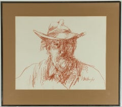 Peter Collins ARCA - 1977 Pastel, Self Portrait of the Artist