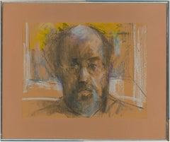 Peter Collins ARCA - Signed and Framed 1980 Pastel, Self Portrait