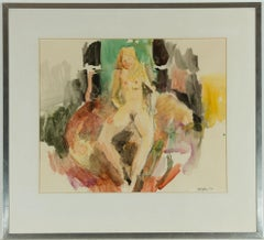 Peter Collins ARCA - Signed and Framed 1973 Watercolour, Female Nude on Bed