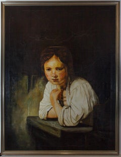 Kremer after Rembrandt - 20th Century Oil, Girl at a Window