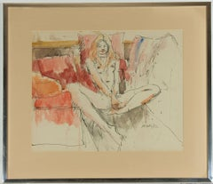 Peter Collins ARCA - Signed and Framed 1982 Watercolour, Female Nude