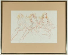 Peter Collins ARCA - Signed and Framed 1982 Pastel, Studies of a Female Nude