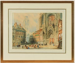 English School 19th Century Watercolour - Rouen Cathedral