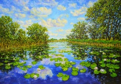 Landscape with water lilies., Painting, Oil on Canvas