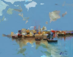 4645 Inland harbour, Painting, Oil on Canvas