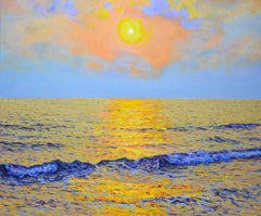 Golden sunset, Painting, Oil on Canvas