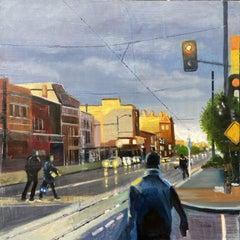 Dusk on H Street, Painting, Oil on Canvas