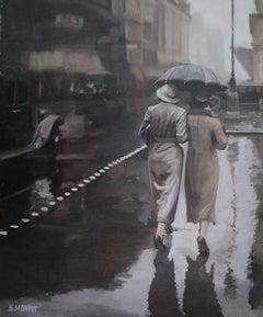 """"""" Promeneuse sous la pluie"""", Painting, Oil on Canvas"""