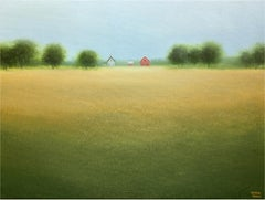 Farmstead in the Grove of Trees, Painting, Acrylic on Canvas