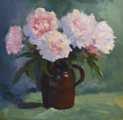 Pink Peonies, Painting, Oil on Canvas