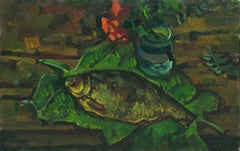 Fish on the leaves, Painting, Oil on Canvas
