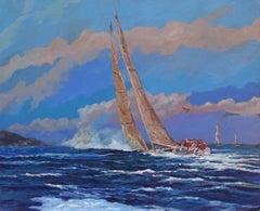 823 Regateando, Painting, Oil on MDF Panel