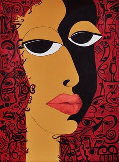 The Eyes - African Theme (Symbols in Color), Painting, Acrylic on Canvas