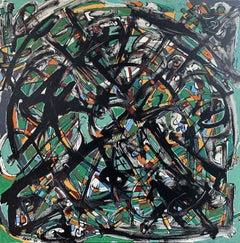 MANDALA #4 (GREEN), Painting, Acrylic on Canvas