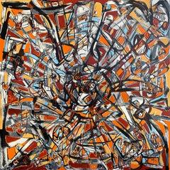MANDALA #1 (ORANGE), Painting, Acrylic on Canvas