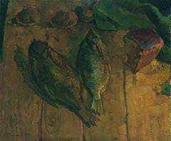 Still life with fish, Painting, Oil on Canvas
