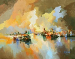 4844 Sailing smoothly to the port, Painting, Oil on Canvas
