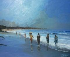 3950 Los mochileros y el pescador, Painting, Oil on Canvas