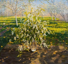 Bouquet of Bird Cherry, Painting, Oil on Canvas