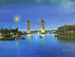 4890 London bridge by night, Painting, Oil on Canvas
