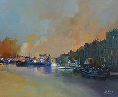 4260 Shallow waters at the canal, Painting, Oil on Canvas