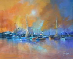 4760 Flags and vessels, Painting, Oil on Canvas