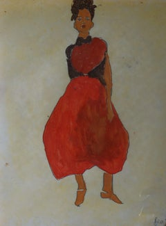 woman red, Painting, Watercolor on Paper