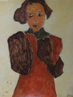 red brown dress, Painting, Watercolor on Paper