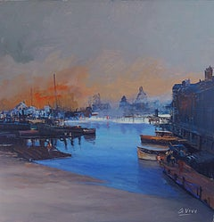 4280 Pier and shipyard, Painting, Oil on Canvas