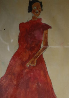 Red Dress, Painting, Watercolor on Paper