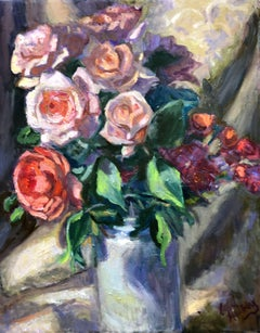 Roses with Cream Brocade Cloth, Painting, Oil on Canvas