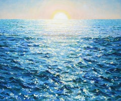 Sunrise over the ocean, Painting, Oil on Canvas