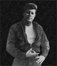 John F Kennedy Cool JFK James Dean Drawing, Drawing, Pen & Ink on Canvas