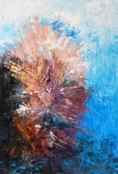 Coral Blossom, Painting, Acrylic on Canvas