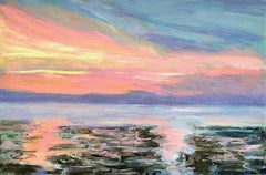 North Sea Sunset, Painting, Oil on Canvas