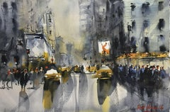 Times Square, Painting, Watercolor on Watercolor Paper