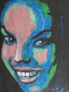I Am Happy - Portrait Of A Woman, Painting, Acrylic on Paper