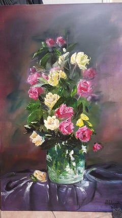 Roses and the Glass, Painting, Oil on Canvas