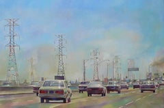 """"""" Town and cars """" """", Painting, Oil on Canvas"""