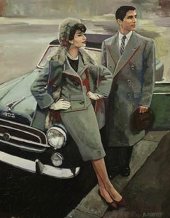 """"""" Couple chic """", Painting, Oil on Canvas"""