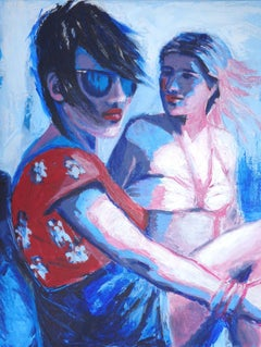 Friends - Girls On Holiday, Painting, Acrylic on Canvas